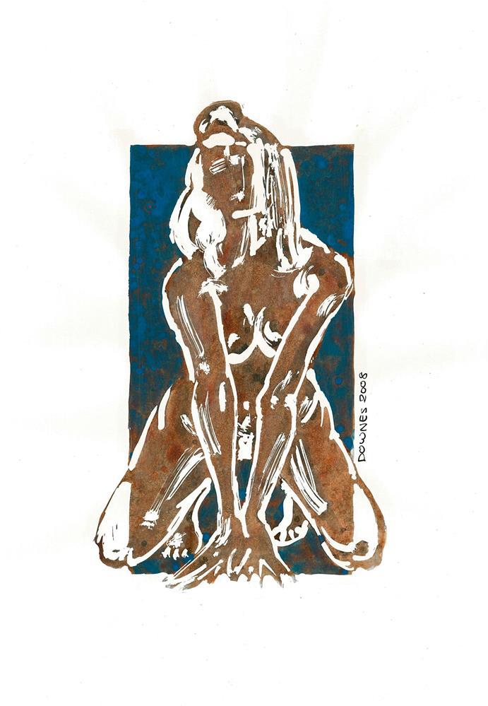 """216 STYLISED LIFE SKETCH 3"" original fine art by Trevor Downes"