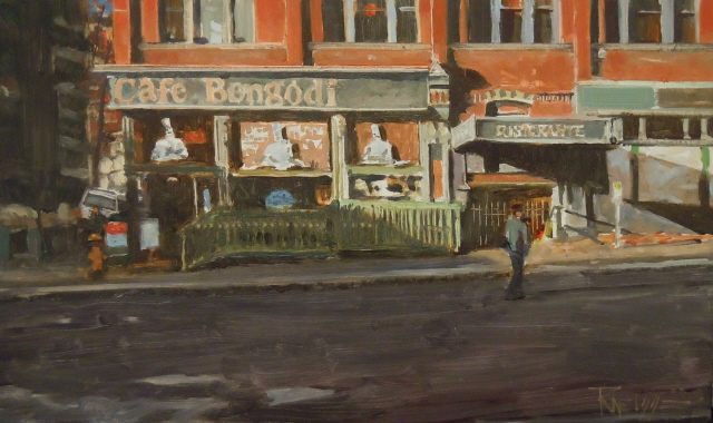 """Cafe Bengodi Seattle city oil painting by Robin Weiss"" original fine art by Robin Weiss"