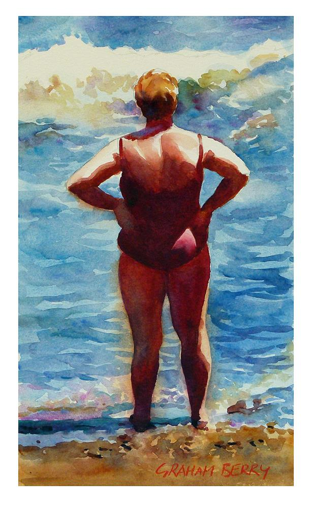 """Woman looking out to sea."" original fine art by Graham Berry"