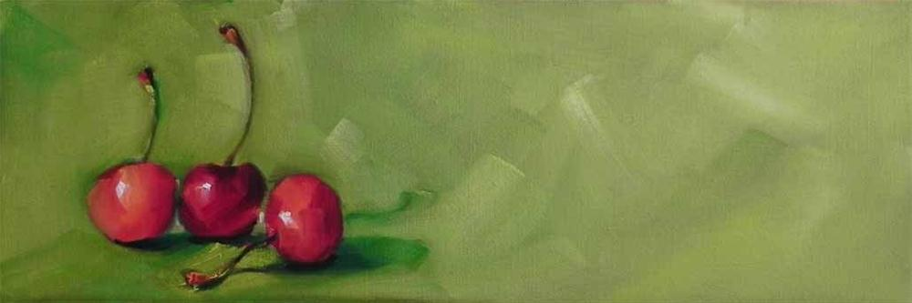 """Three Cherries"" original fine art by Cheryl Wilson"