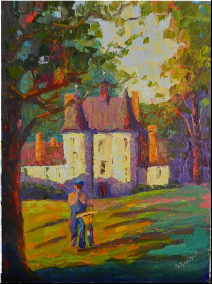 """Country French, 12x16, oil on masonite, bicycle, bread, baguette, French countryside, Normandy, Fr"" original fine art by Maryanne Jacobsen"