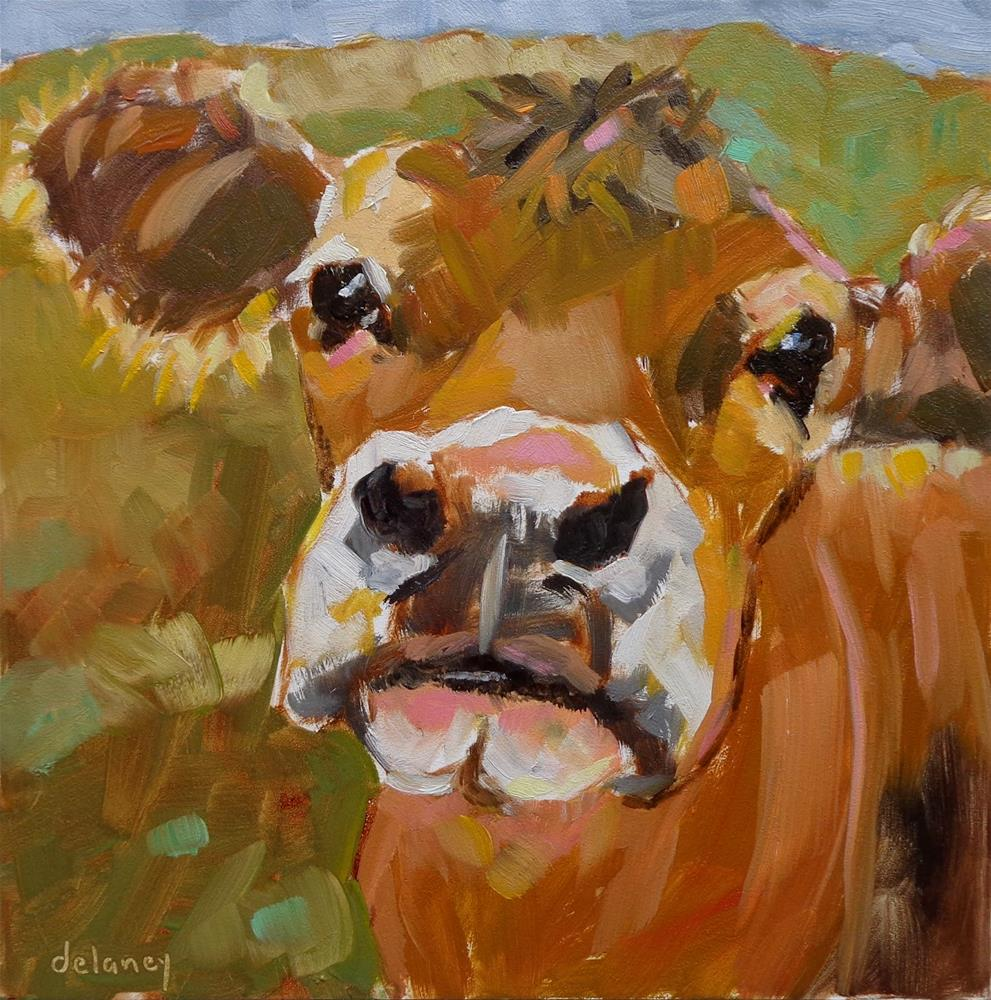 """Cow 142 NATURE LOVER"" original fine art by Jean Delaney"