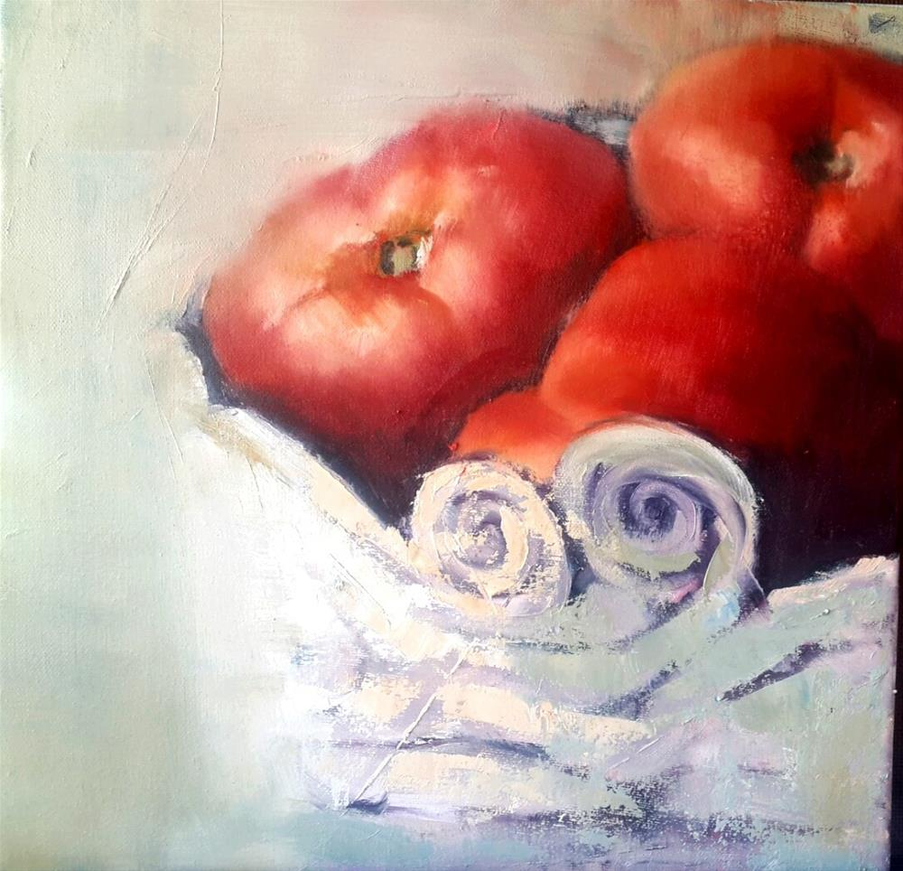 """Palette knife tomatoes"" original fine art by Rentia Coetzee"