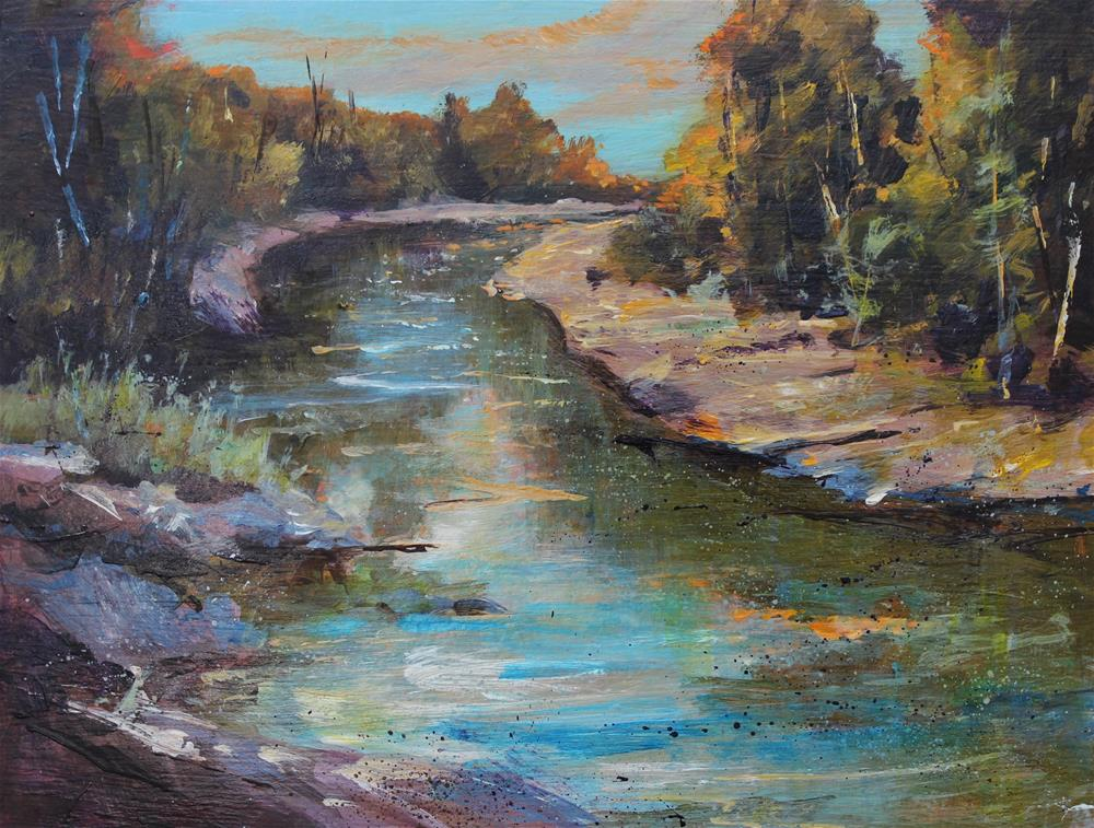 """Original acrylic Sugar Creek Indiana river landscape painting"" original fine art by Alice Harpel"
