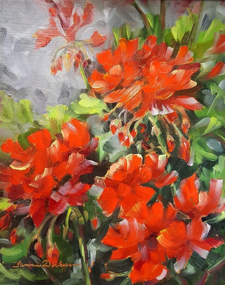 """April Geraniums"" original fine art by Tammie Dickerson"