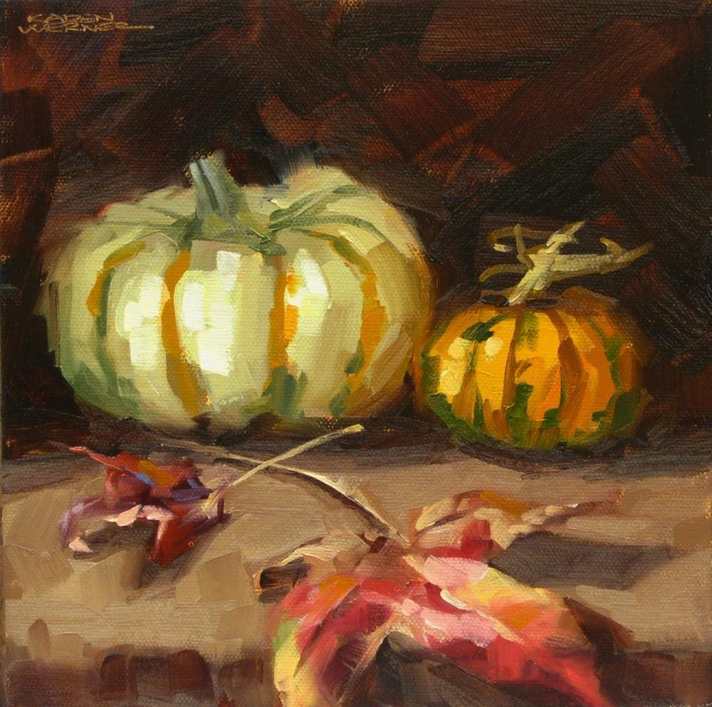 """Pumpkins & Leaves"" original fine art by Karen Werner"