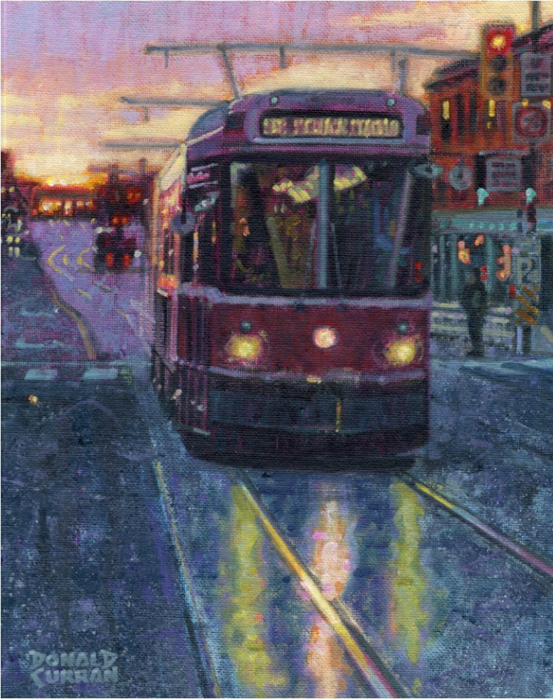 """Toronto Trolley"" original fine art by Donald Curran"