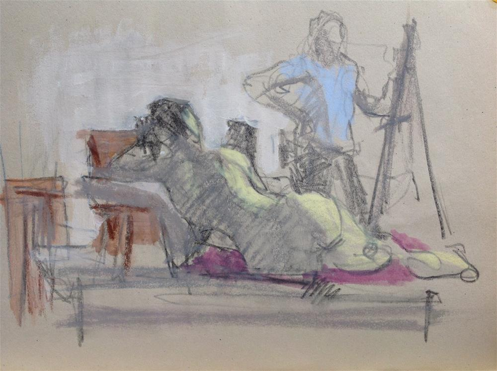 """Painter and model, sketch"" original fine art by Christine Bayle"