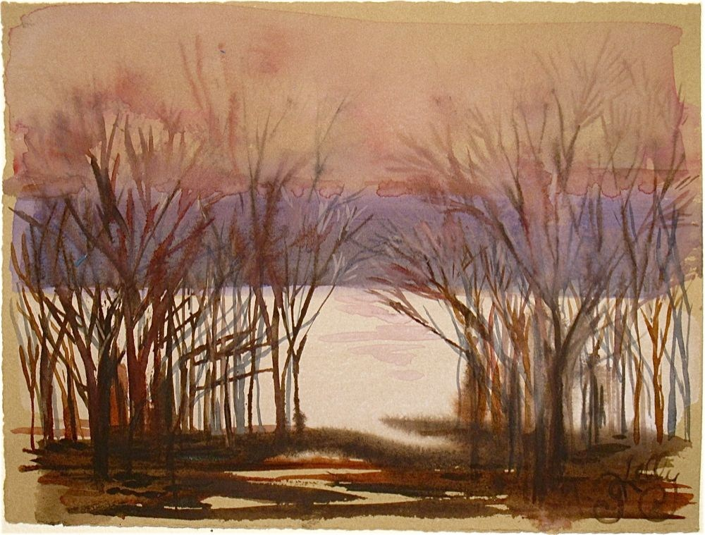 Day Before Spring on the Hudson by Gretchen Kelly, New York Artist miniature watercolor riverscape original fine art by Gretchen Kelly