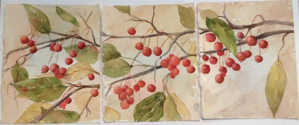"""Berries and Branch"" original fine art by Sue Dion"