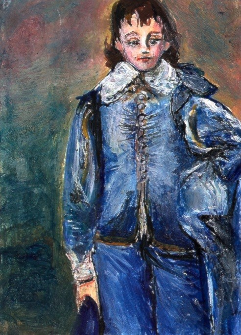 """""""ACEO Blue Boy Painting in the Style of Gainsborough Miniature by Penny StewArt"""" original fine art by Penny Lee StewArt"""