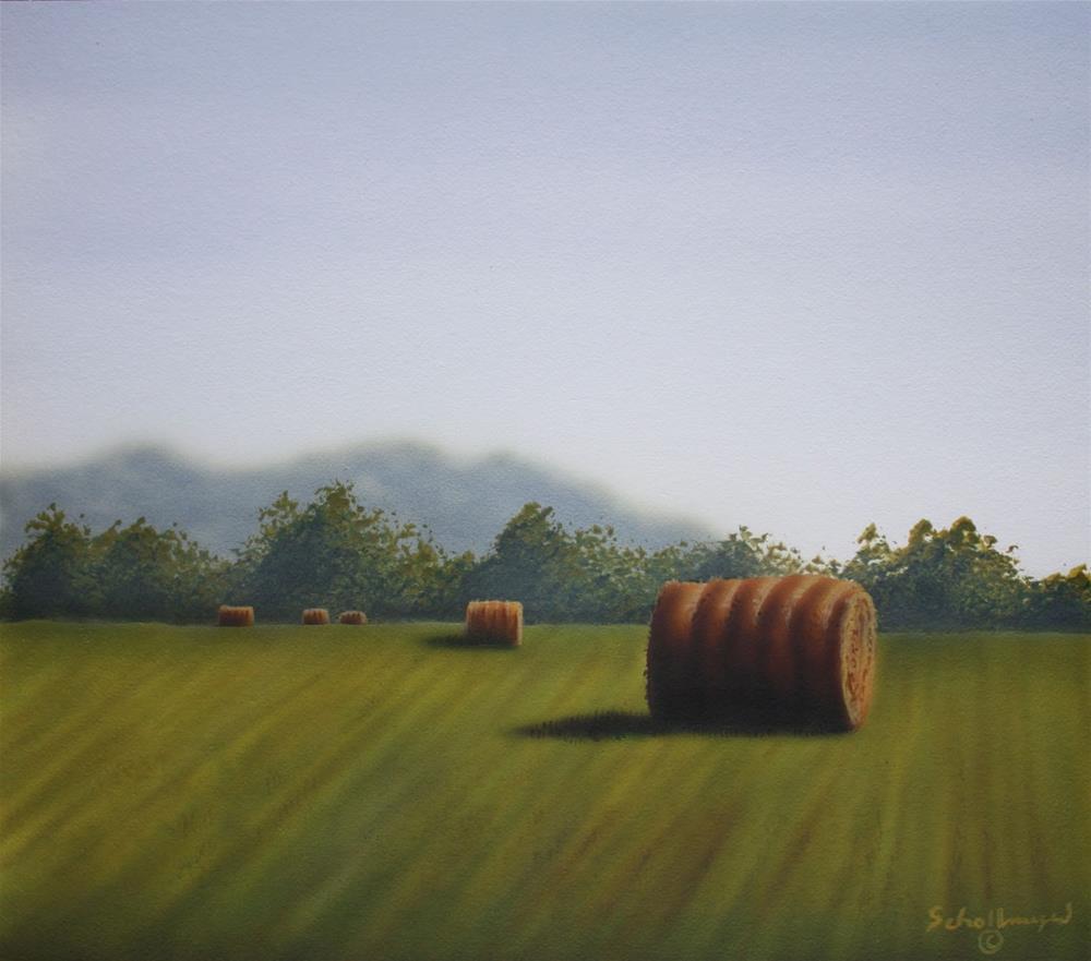 """Hay Field West of Town"" original fine art by Fred Schollmeyer"