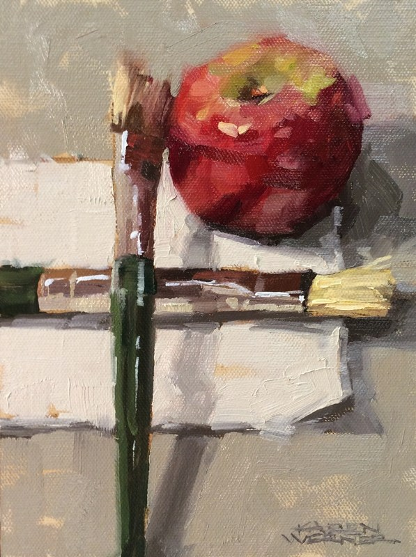 """Apple Of His Eye"" original fine art by Karen Werner"