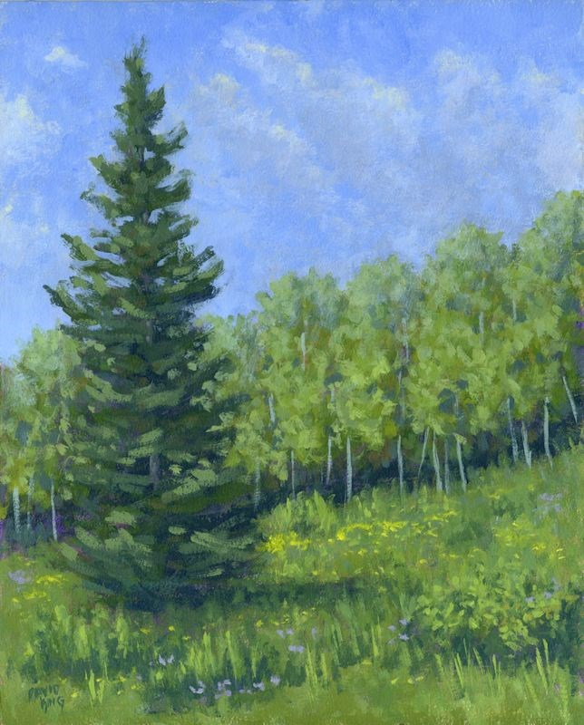 """Spring Evergreen"" original fine art by David King"
