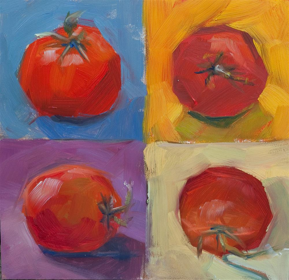 """Four Square Tomatoes"" original fine art by Beth Bathe"