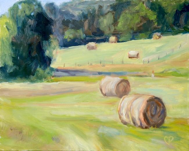 """""""Round hay bale study #2"""" original fine art by Carol DeMumbrum"""