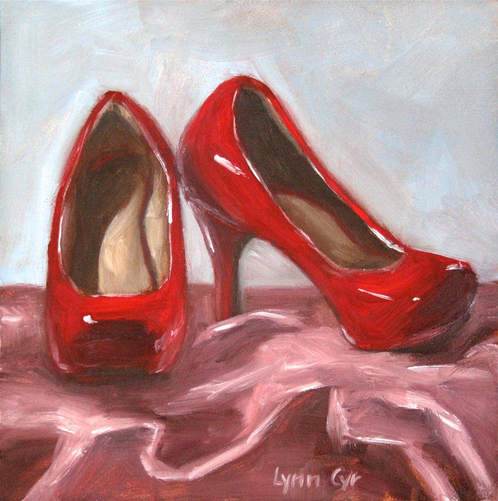 """""""Red High Heels"""" original fine art by Lynn Cyr"""