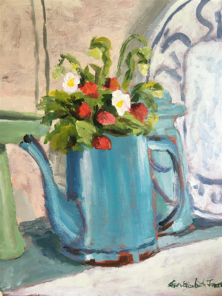 """Coffee Pot with Strawberries Demo"" original fine art by Susan Elizabeth Jones"