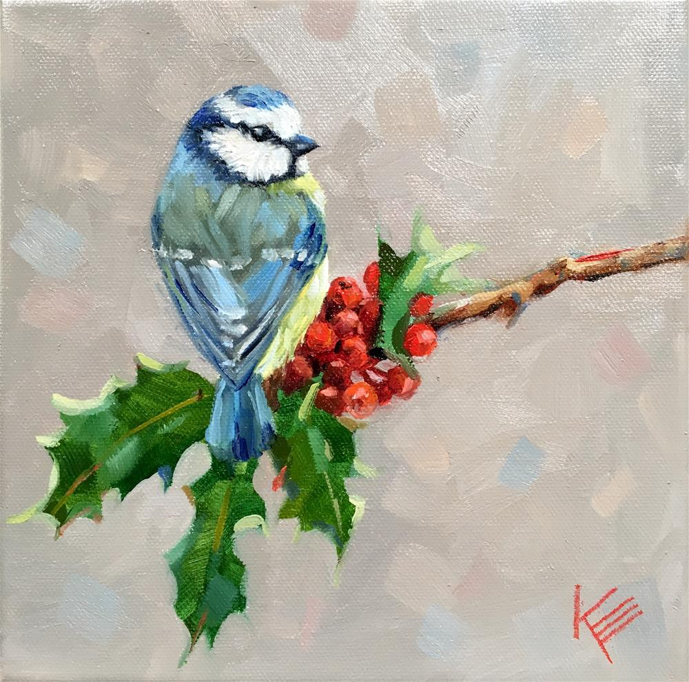 """Holly & Blue Tit"" original fine art by Krista Eaton"