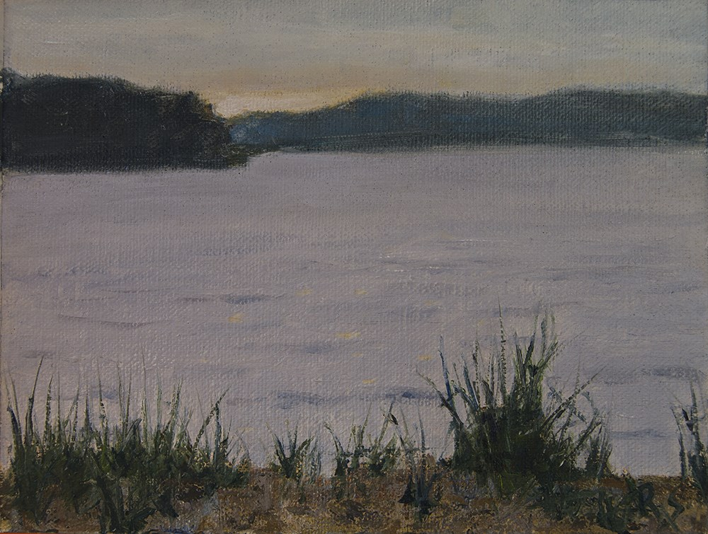 """Cloudy Sunrise at a Lake"" original fine art by Rachel Steely"