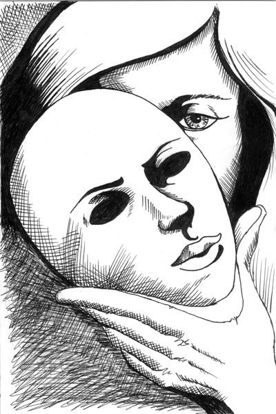 """""""Mark Webster - Untitled Mask Pen and Ink Drawing"""" original fine art by Mark Webster"""