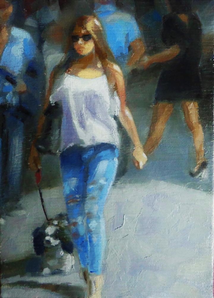 """Walking down the street"" original fine art by Maria Z."