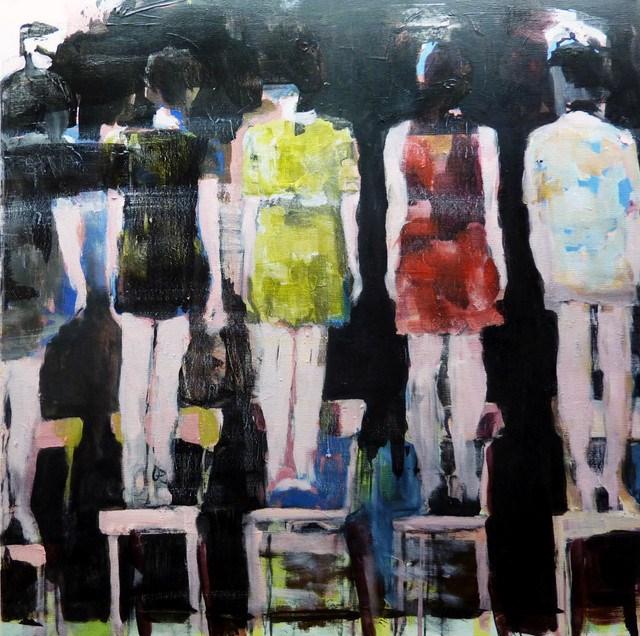 """""""auf dem Stuhl stehen / standing on chair"""" original fine art by Mila Plaickner"""