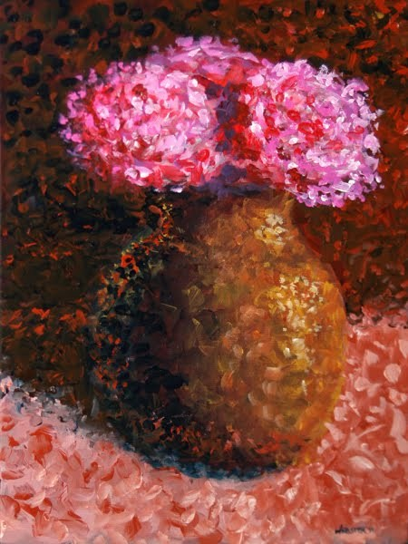 """Mark Webster - Impressionist Flowers in Vase Acrylic Still Life Painting"" original fine art by Mark Webster"