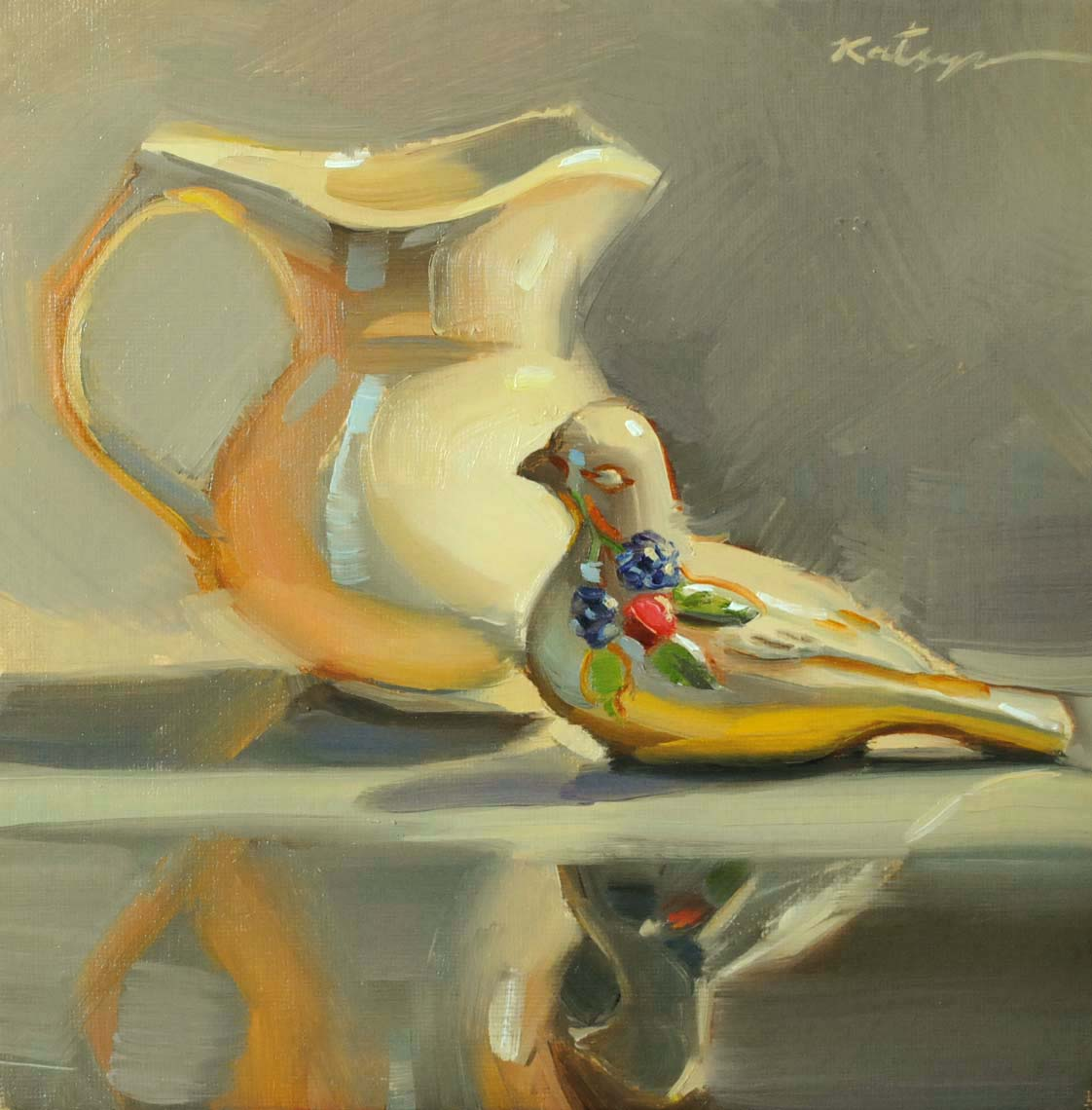 """The Creamer and the Dove"" original fine art by Elena Katsyura"