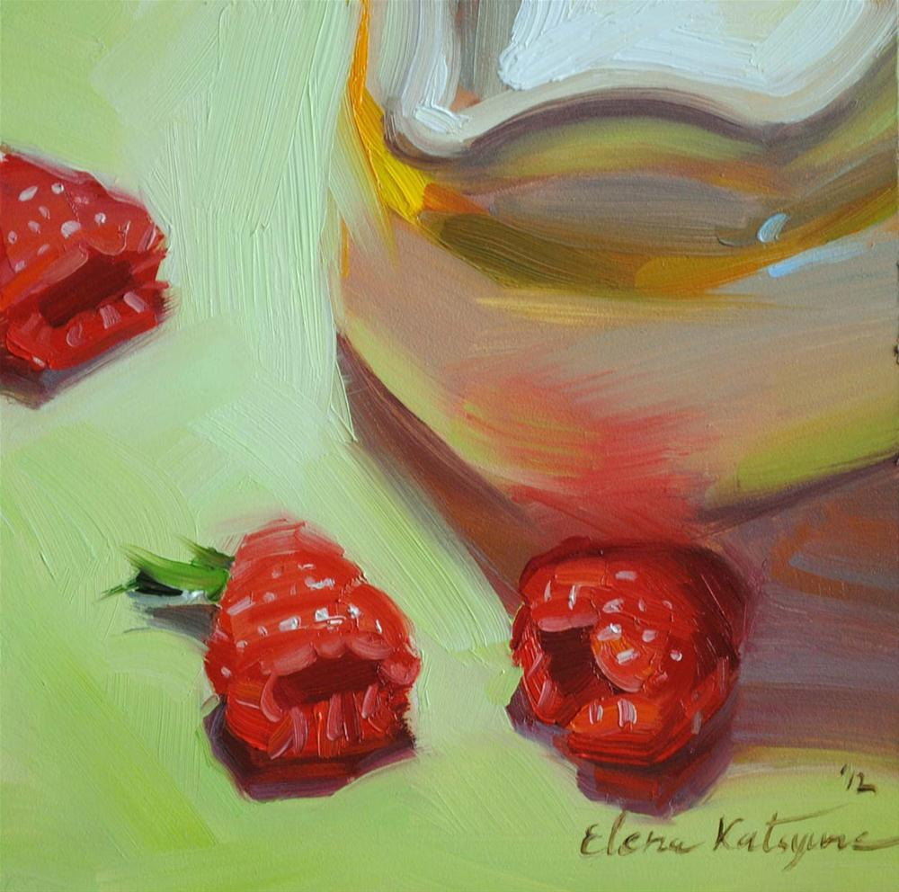 """Milk and Raspberries"" original fine art by Elena Katsyura"