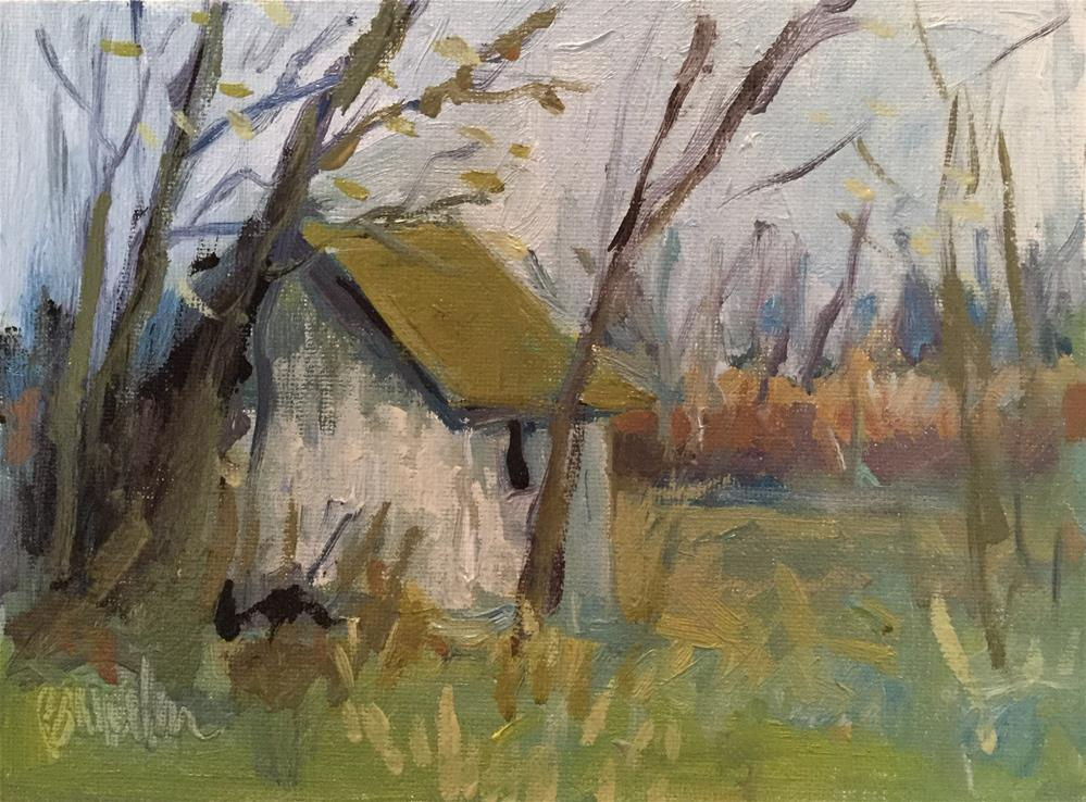 """November Shed"" original fine art by Barb Walker"