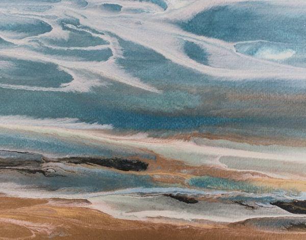 """Contemporary Seascape, Abstract Ocean Art, Coastal Living Decor, Fine Art Sky Meets Sea-Study I by"" original fine art by Kimberly Conrad"
