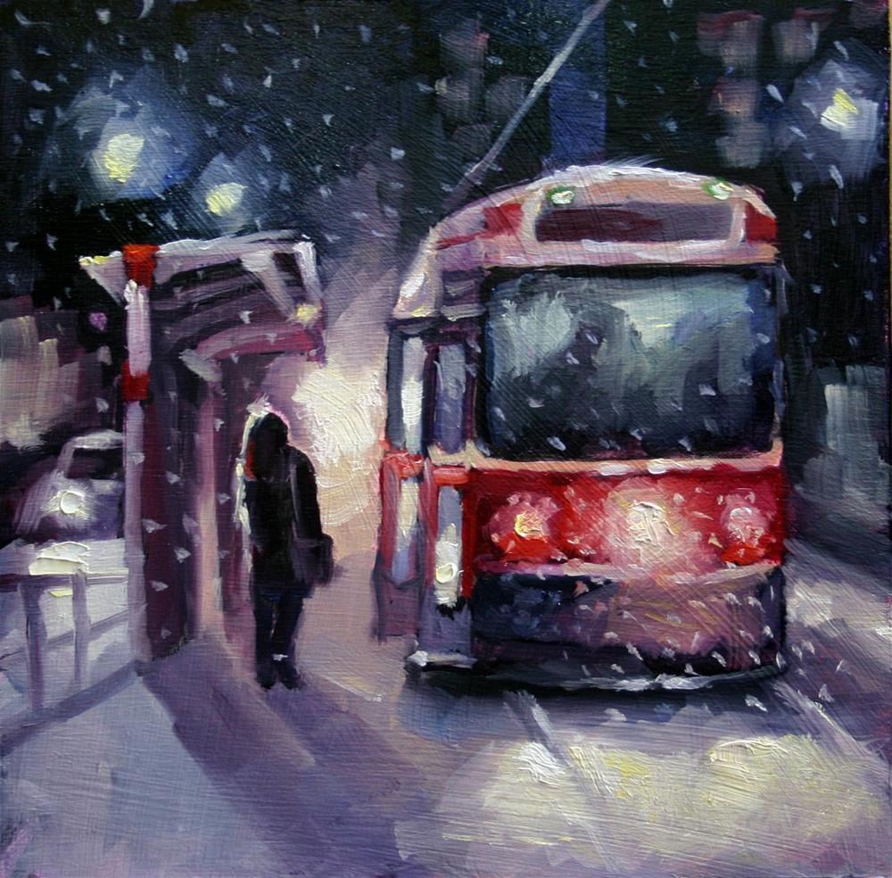 """first Snowfall, Toronto Streetcar"" original fine art by Catherine Jeffrey"