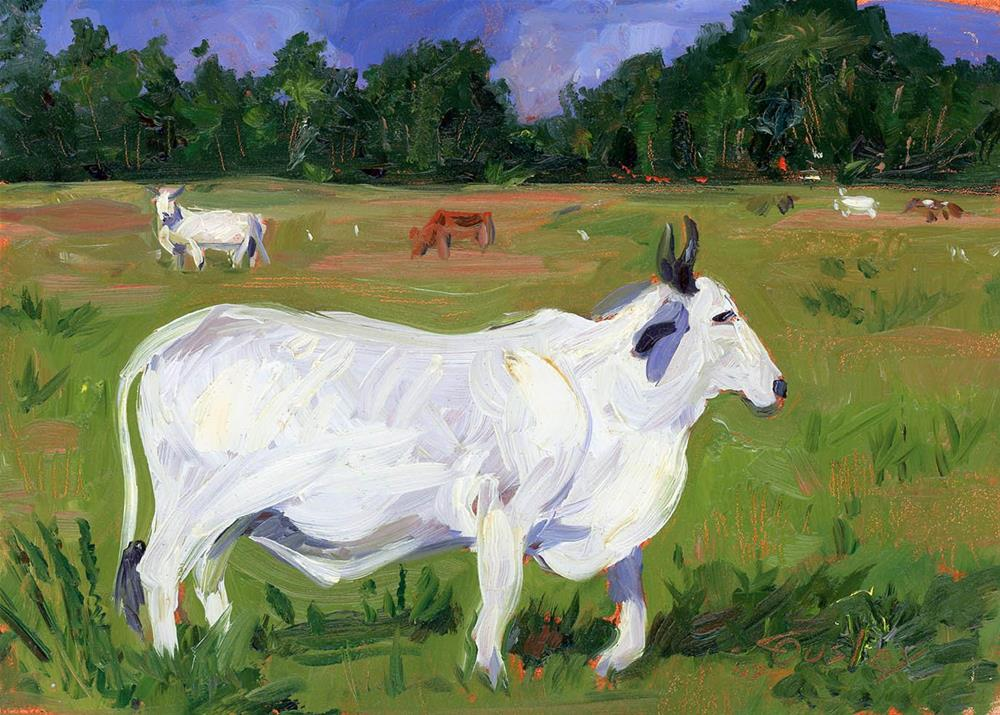 """White Livestock"" original fine art by Chris Ousley"