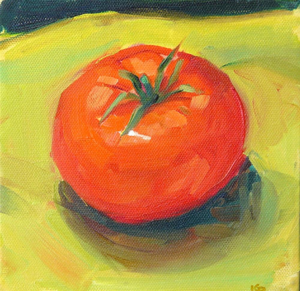 """Fresh Tomato,still life,oil on canvas,6x6,price$200"" original fine art by Joy Olney"