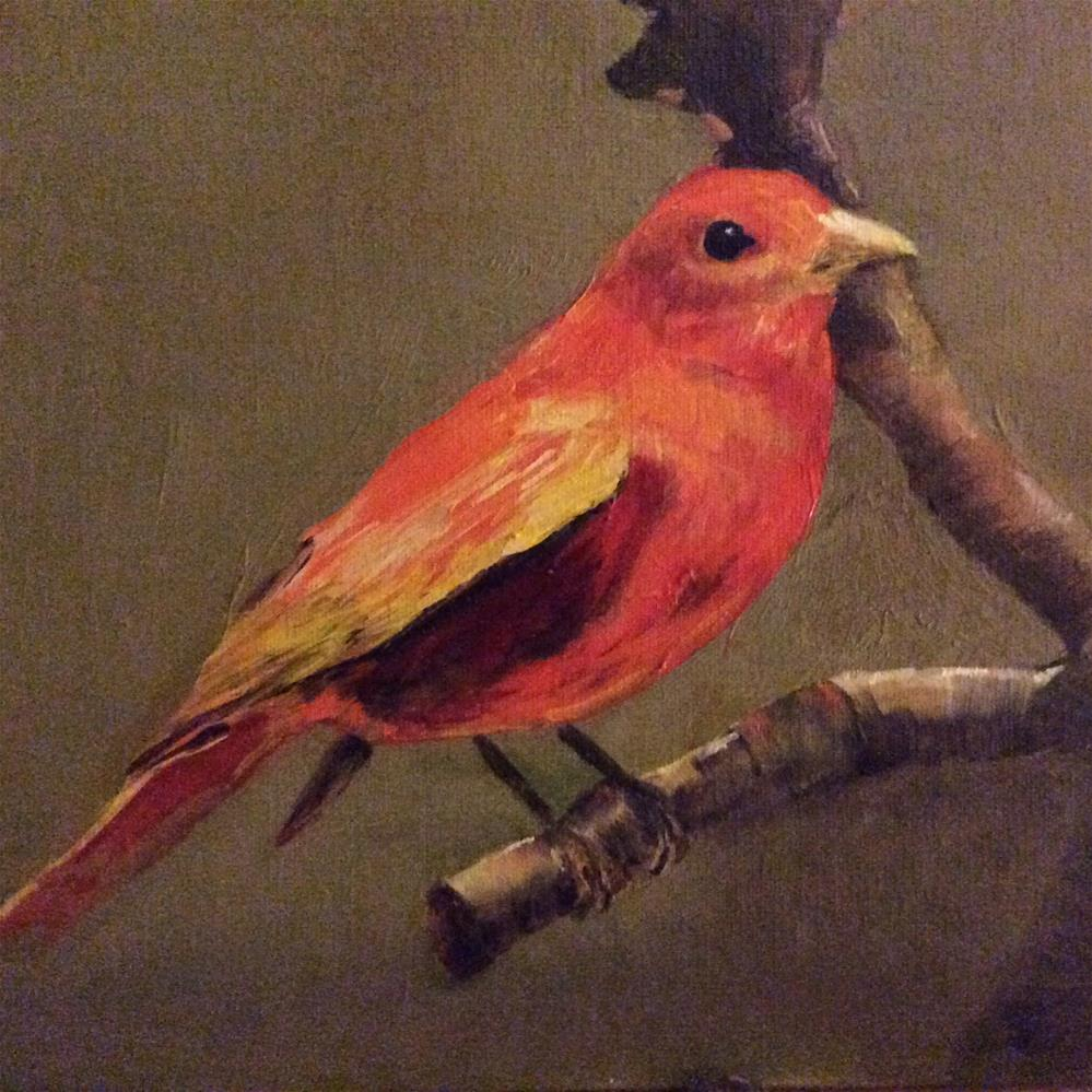 """Scarlet Tanager"" original fine art by Charlotte Lough"