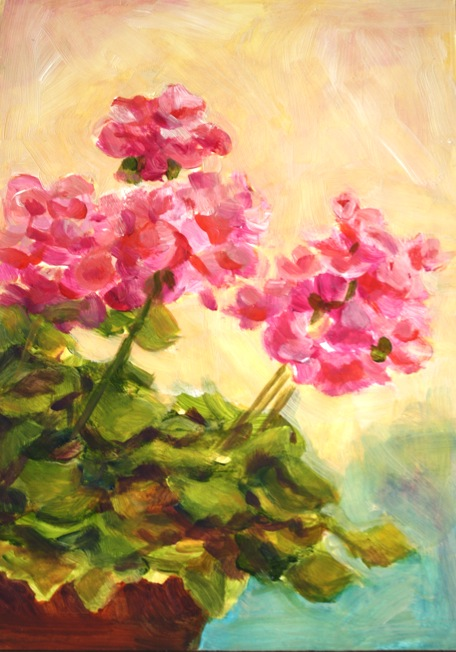 """Geraniums"" original fine art by Maggie Flatley"