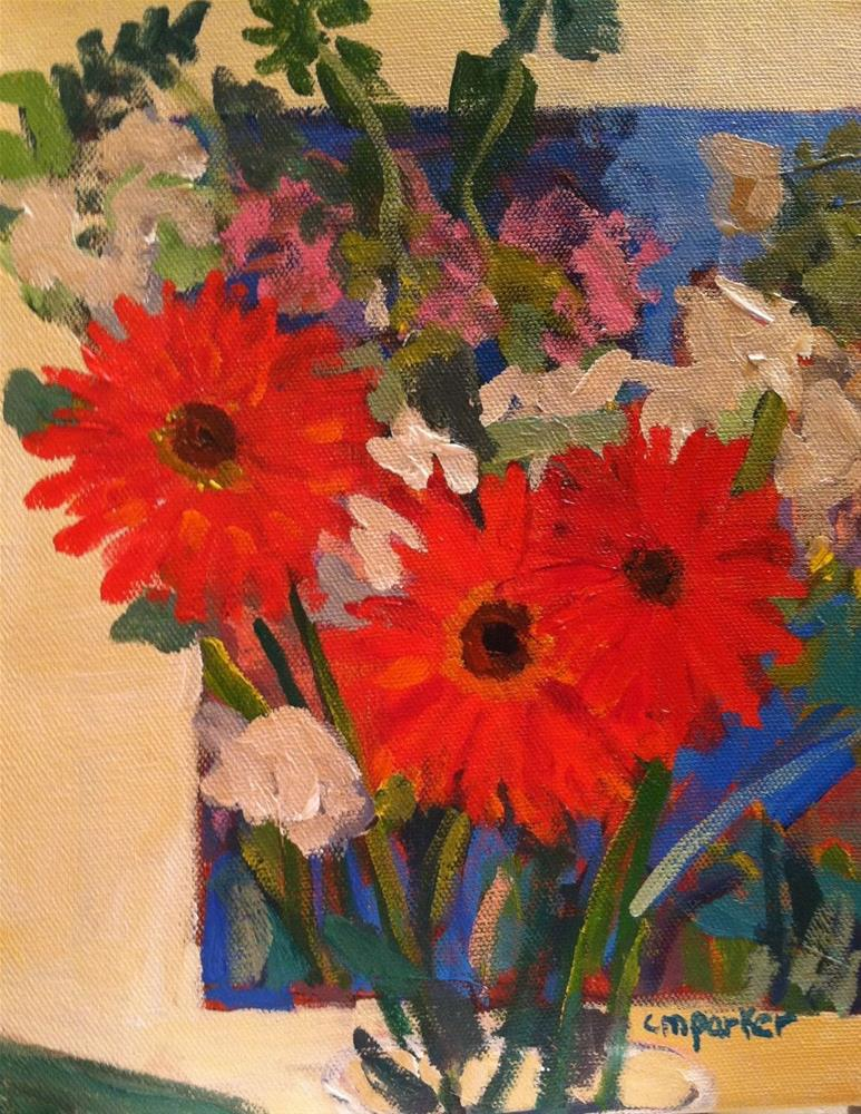 """Interior with Flowers"" original fine art by Christine Parker"