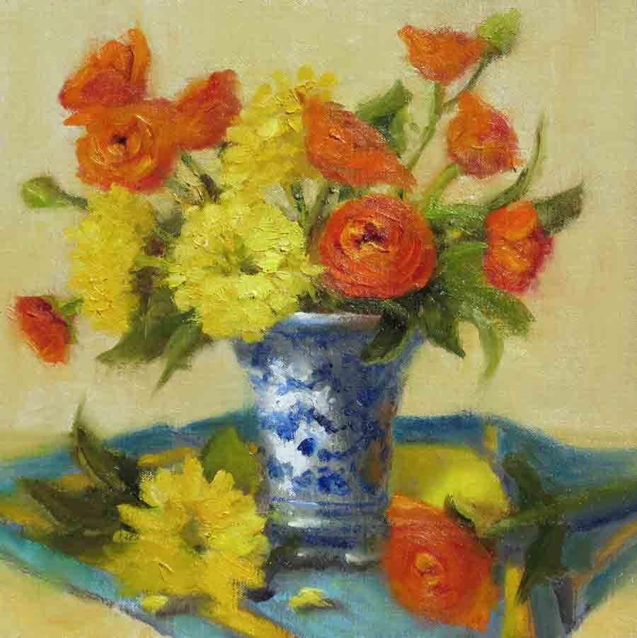 """Orange, Yellow, Blue"" original fine art by Pat Fiorello"