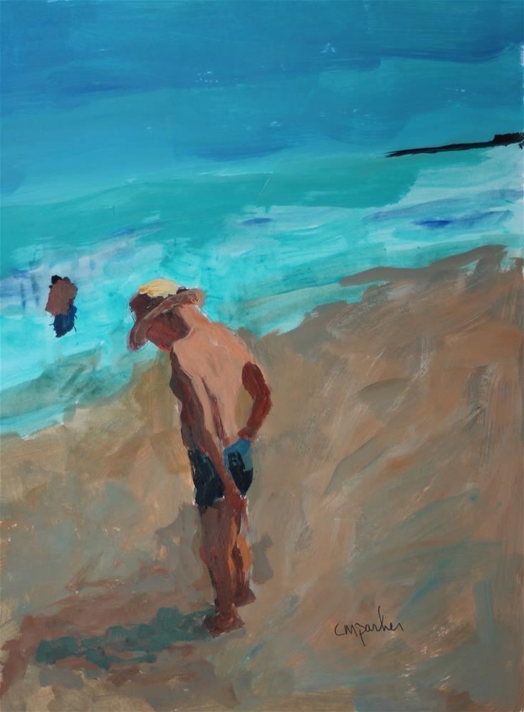 """Seascape with Boy"" original fine art by Christine Parker"