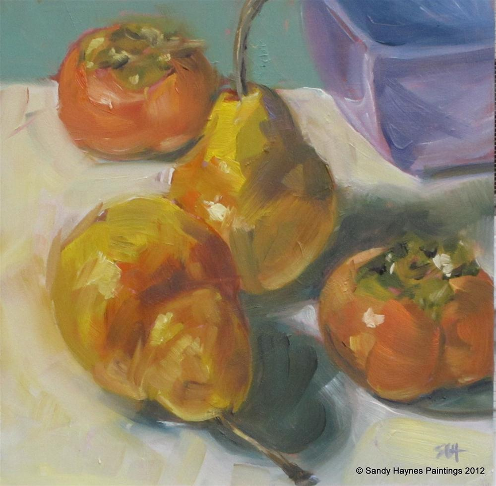 """Pears, persimmons, and periwinkle"" original fine art by Sandy Haynes"