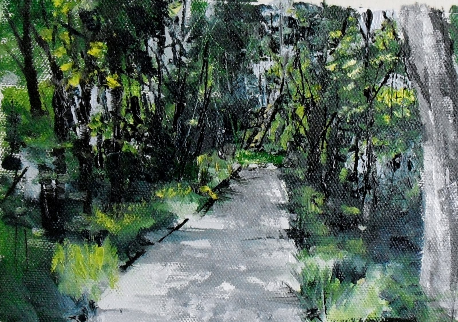 """On the Path ~ oil on canvas paper~ 5x7"" original fine art by Vincenza Harrity"