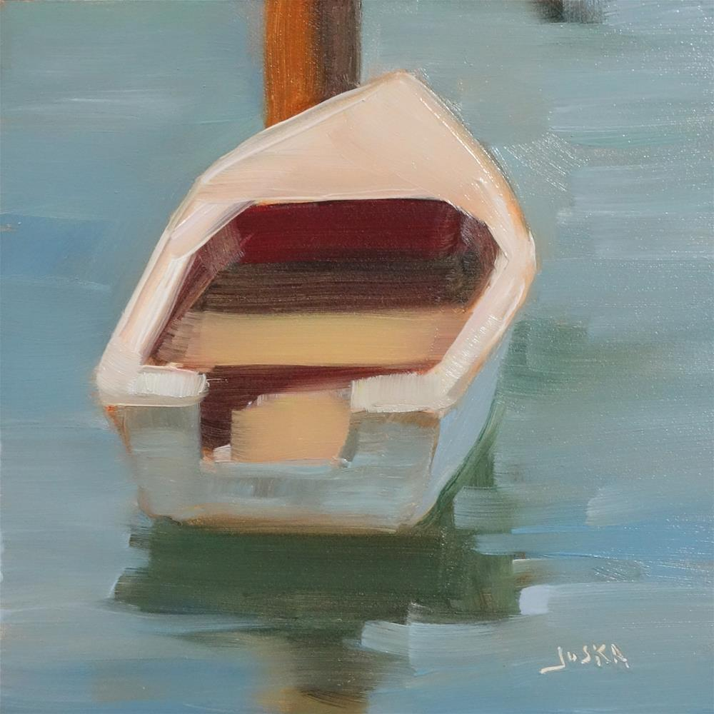 """""""Dinghy on a Quiet River"""" original fine art by Elaine Juska Joseph"""