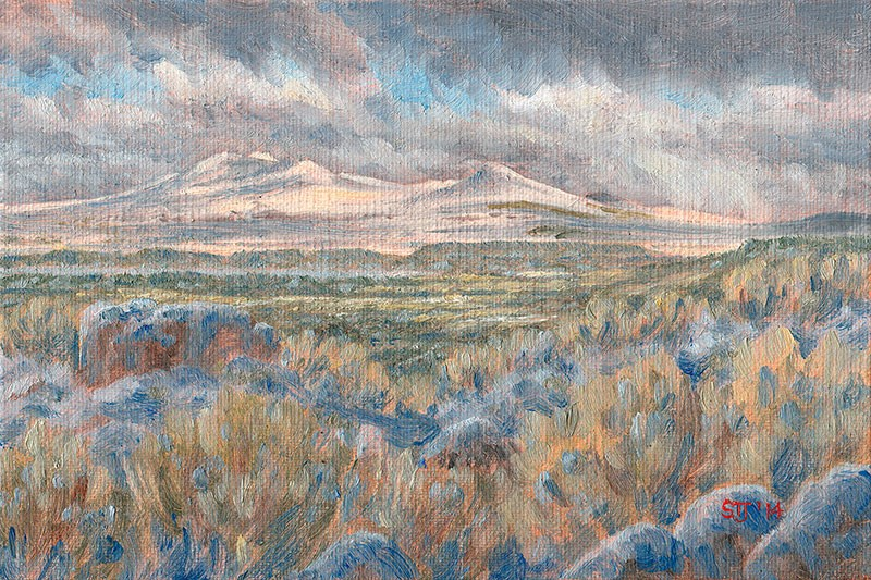 """Christmas Day Snow on the Rabbit Hills (Warner Valley, Oregon High Desert)"" original fine art by Steven Thor Johanneson"