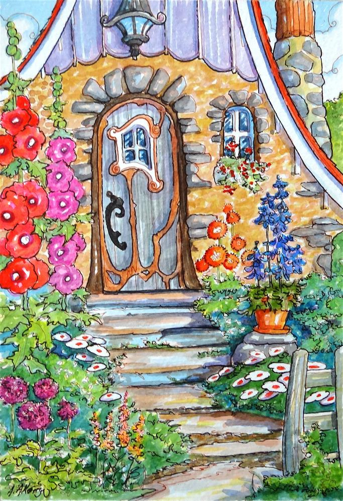 """""""Welcome to My Door Storybook Cottage Series"""" original fine art by Alida Akers"""