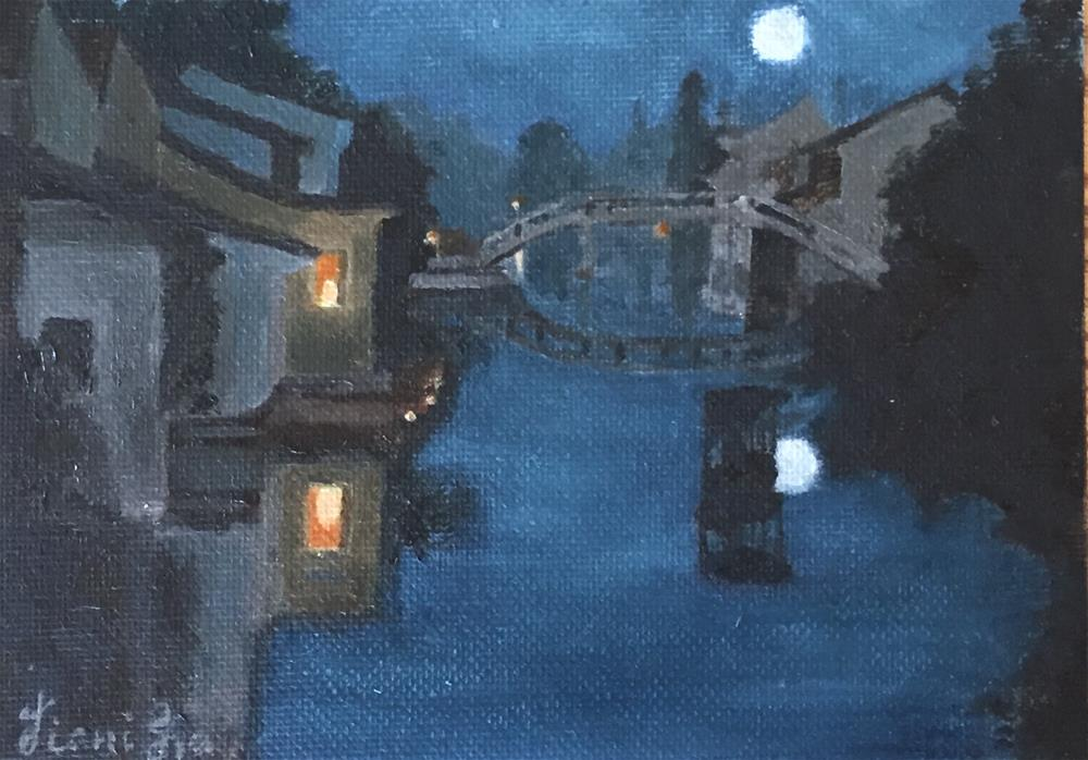 """枫桥夜泊"" original fine art by Jiani Shan"