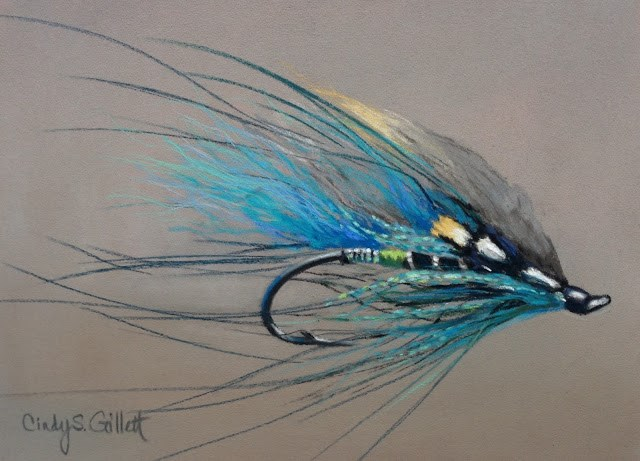 """Day 24 - Blue Charm Spey"" original fine art by Cindy Gillett"