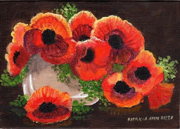 """Luminous Red Poppies 4"" original fine art by Patricia Ann Rizzo"