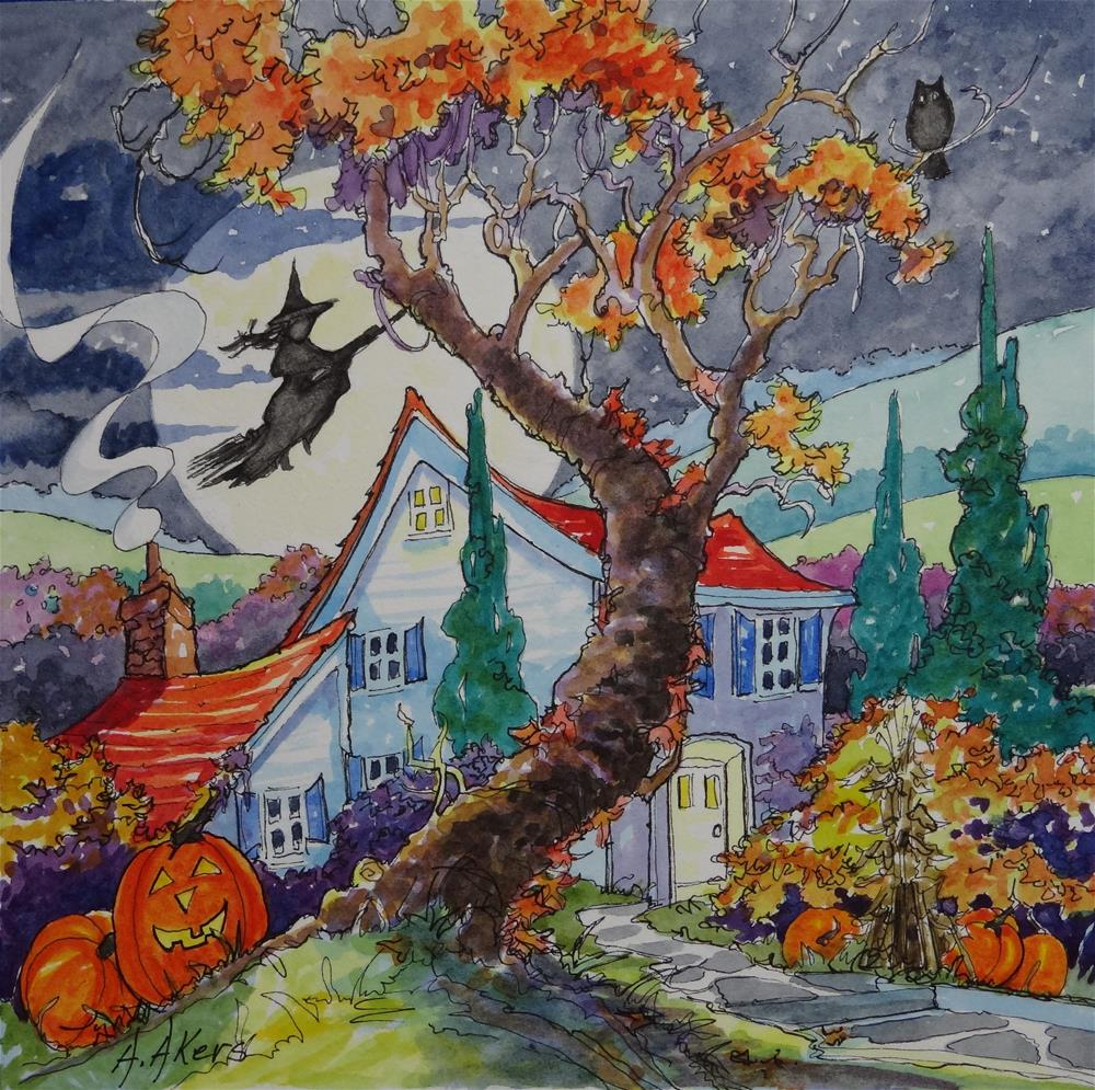 """""""Home Sweet Halloween Home Storybook Cottage Series"""" original fine art by Alida Akers"""