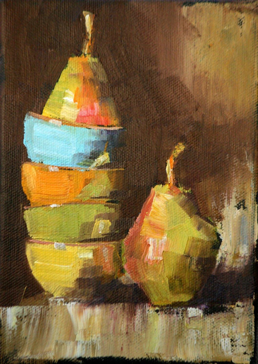 """bartletts and bowls"" original fine art by Carol Carmichael"